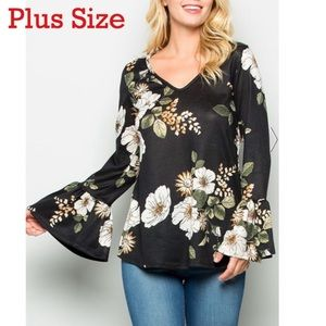 🆕🌟✨ Boho Floral Bell Sleeve Top Size 2X 💐